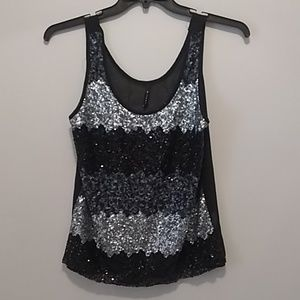 Sequin Front Top with See Through Back